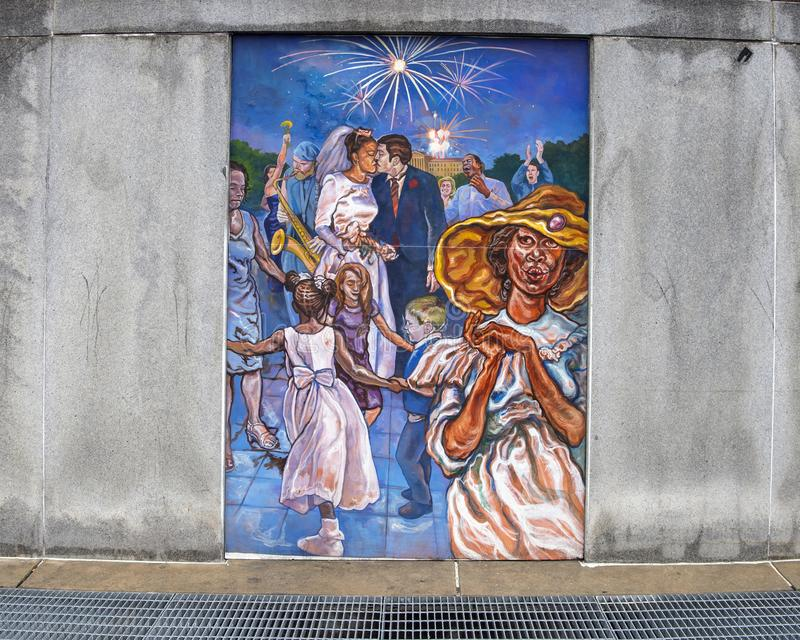 Unifying the Cultures of Neighborhood in Philadelphia, mural by Joseph and Gabriele Tiberino. Pictured is one of a series of five murals entitled `Unifying the stock photo