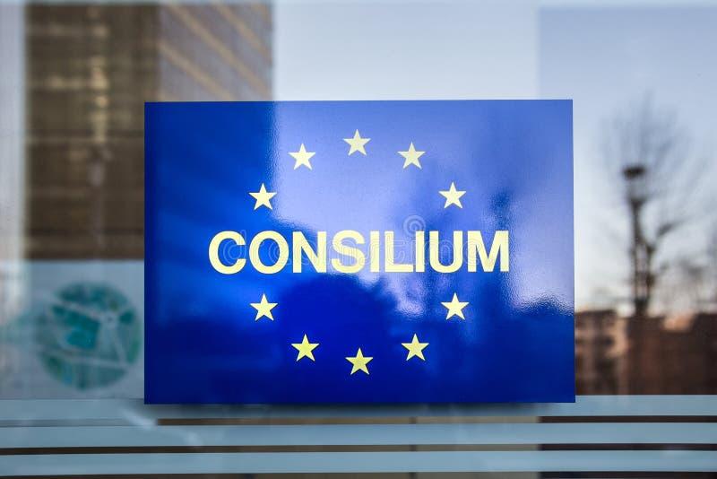 Unii Europejskiej consilium podpisuje wewnątrz Brussels Belgium zdjęcie stock