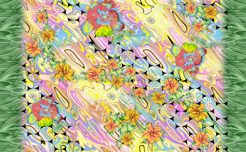 Unik blomma med f?rgrik digital bakgrund stock illustrationer