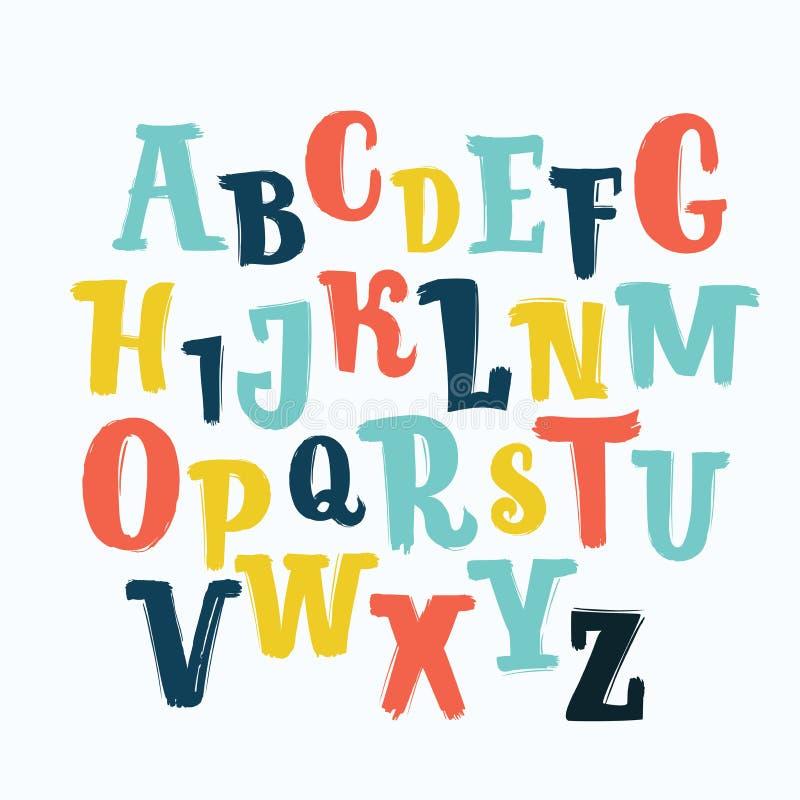 Unik bokstäverstilsort för vektor, dragen hand abc ungar som är roliga, barn Isolerade ställde bokstäver in, alfabetet, målarfärg vektor illustrationer