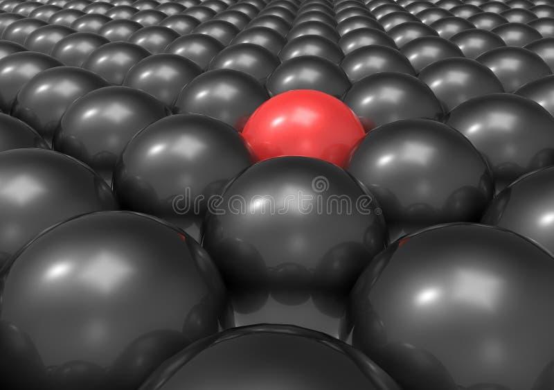 Unik boll som ut står - röd stock illustrationer