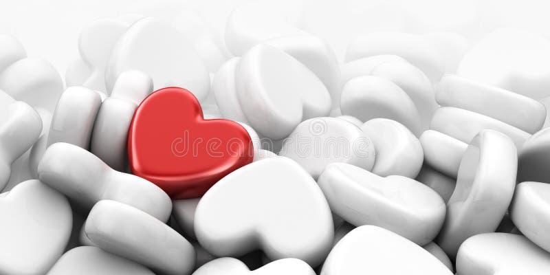 Unik förälskelsehjärta 3D illustration, bred bakgrund stock illustrationer