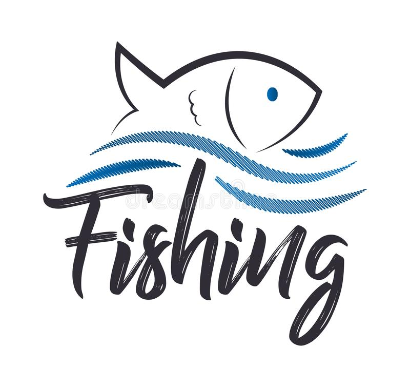 Unik fiska släkt logo Idérik beståndsdel för att fiska kombination av en våg och en fisk stock illustrationer