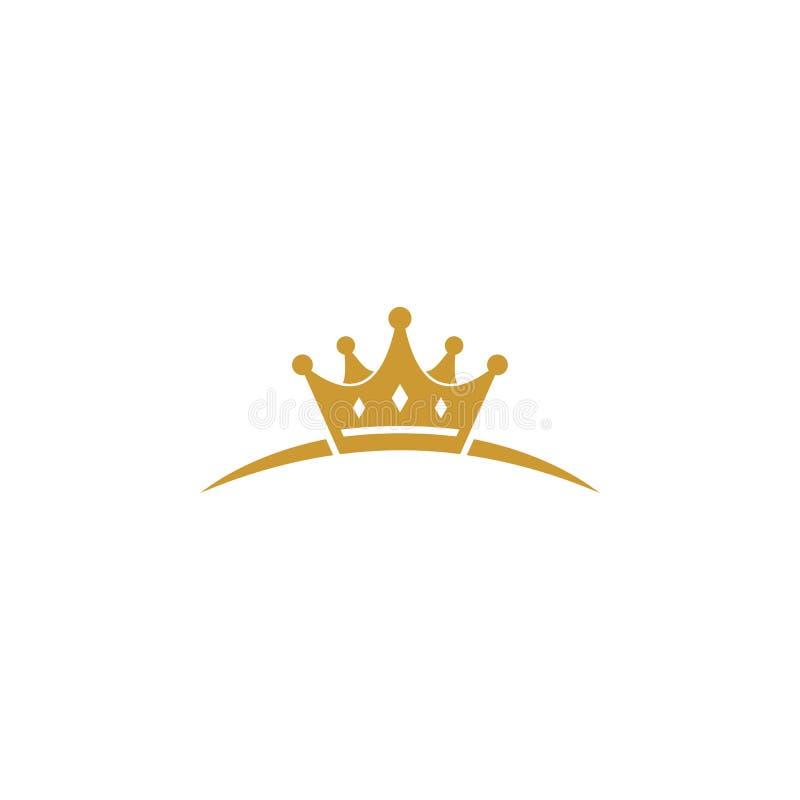 Unik guld- kronalogo royaltyfri illustrationer