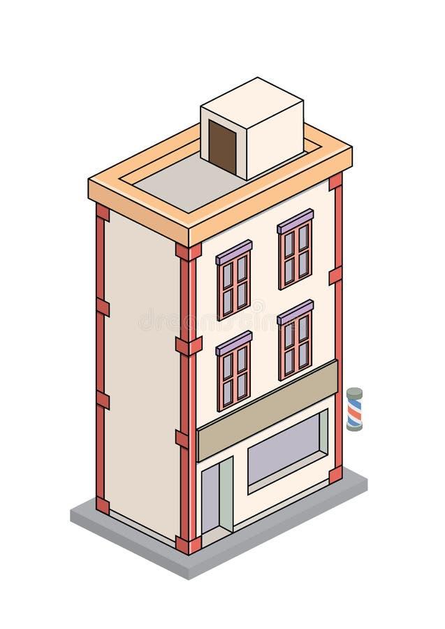 Unik isometrisk byggnadsfrisersalong royaltyfri illustrationer