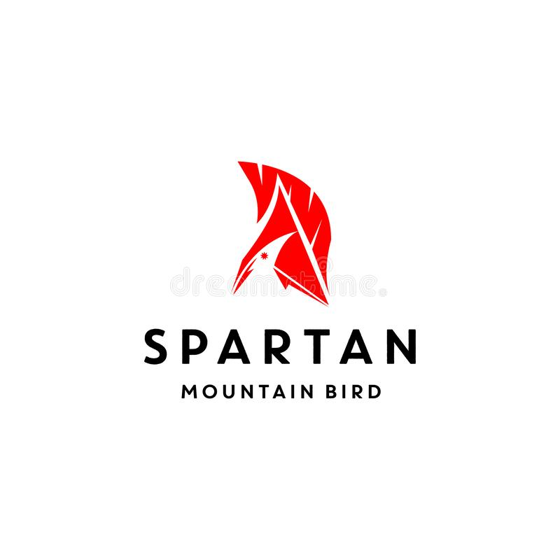 Unik logodesign med fågeln, berget och spartansk inspiration för illustration för hjälmvektorsymbol royaltyfri illustrationer