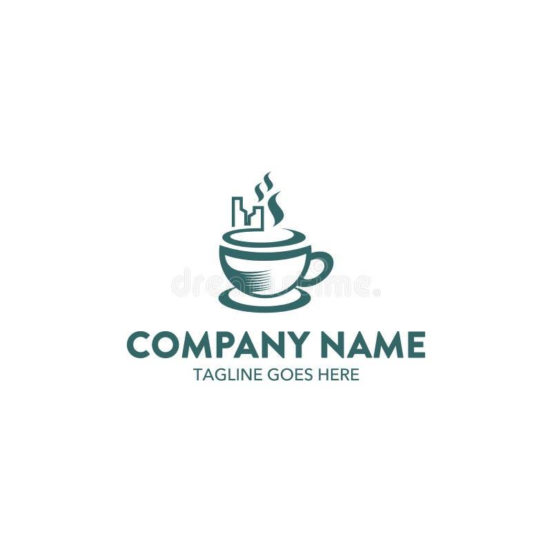 Unik mall för kaffekafélogo vektor redigerbart stock illustrationer