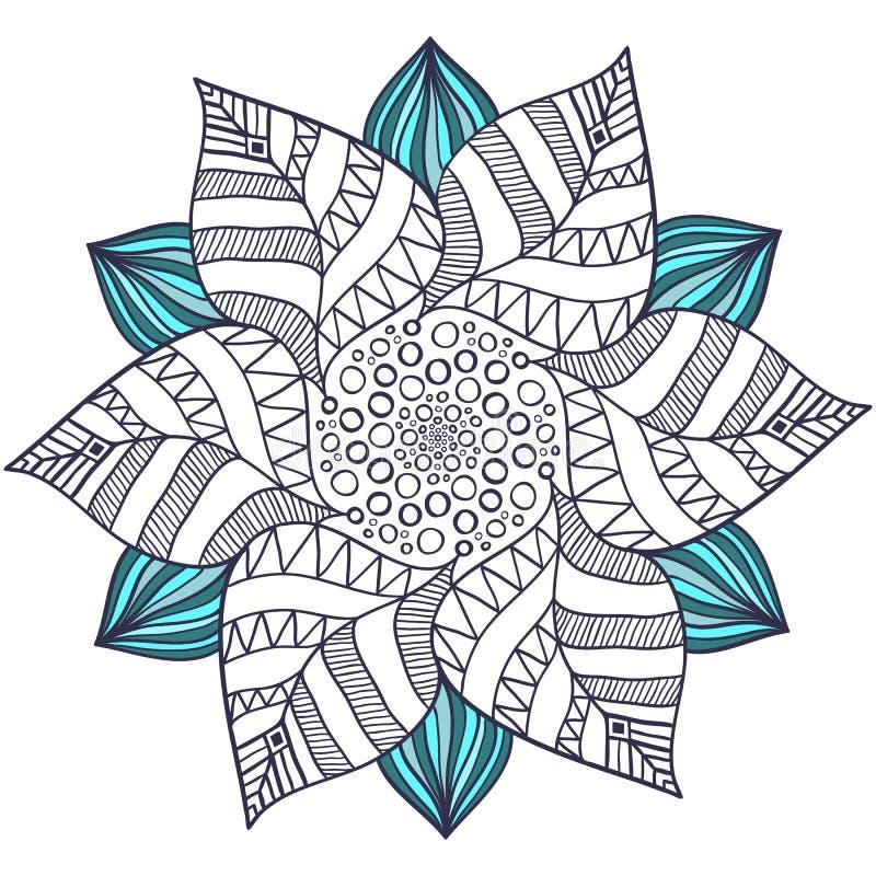 Unik mandalavektor i blom- stil Cirkelzentangle för sidor för färgläggningbok Rund prydnadmodell för hennatatuering royaltyfri illustrationer