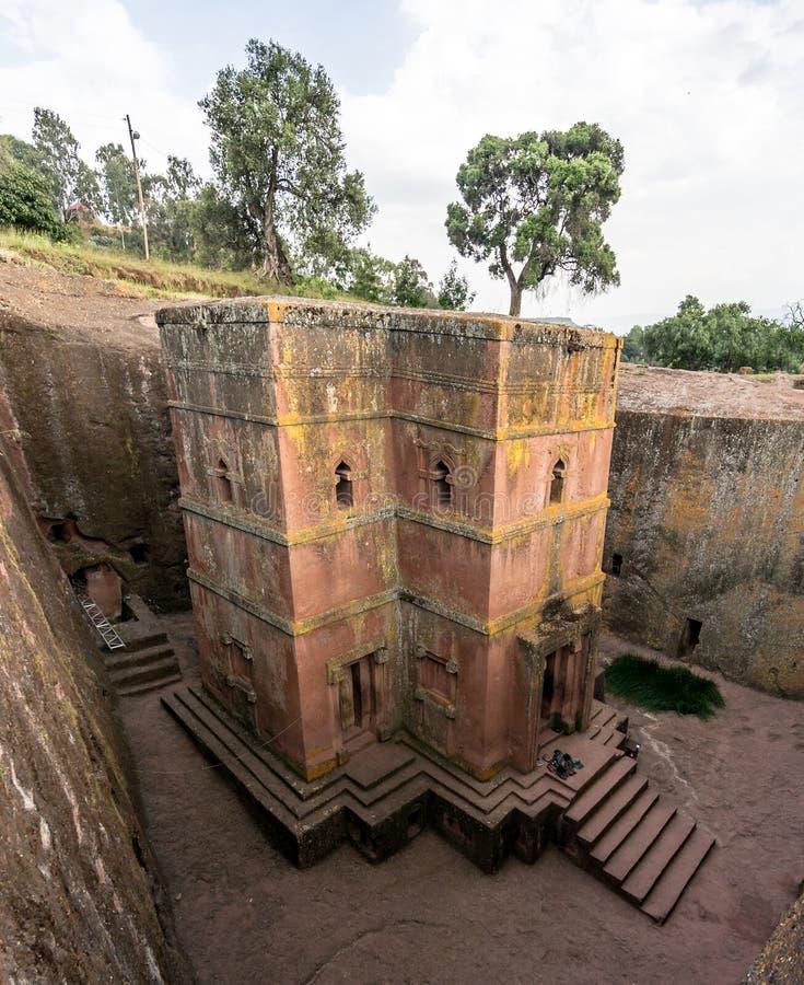 Unik monolitisk vagga-huggen ut kyrka av St George, Lalibela, Etiopien arkivbilder
