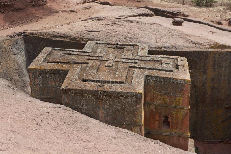 Unik monolitisk vagga-huggen ut kyrka av St George, UNESCOvärldsarv, Lalibela, Etiopien arkivfoto