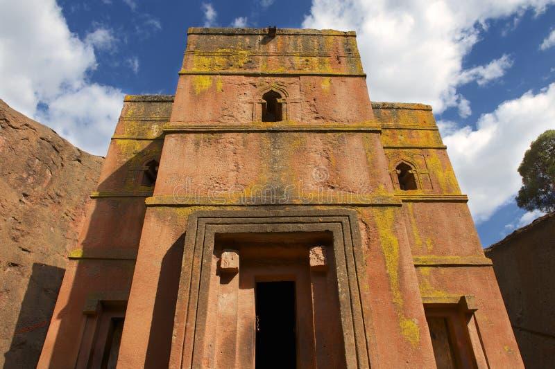 Unik monolitisk vagga-huggen ut kyrka av St George, UNESCOvärldsarv, Lalibela, Etiopien fotografering för bildbyråer