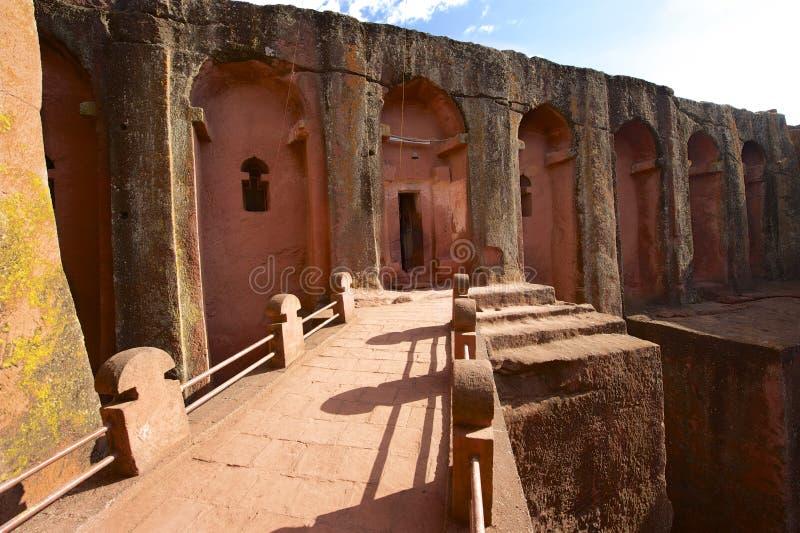 Unik monolitisk vagga-huggen ut kyrka, Lalibela, Etiopien Lokal för Unesco-världsarv arkivbild