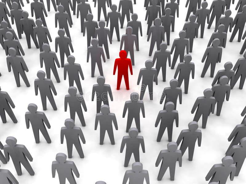 Unik person i folkmassa. stock illustrationer