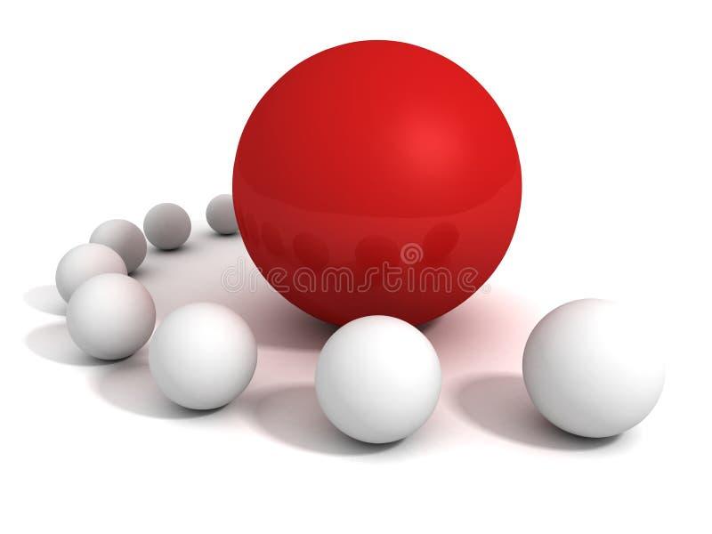 Unik röd bollledare i growd av vit andra sfärer stock illustrationer