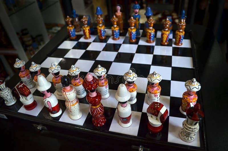 Unik schackuppsättning arkivfoto