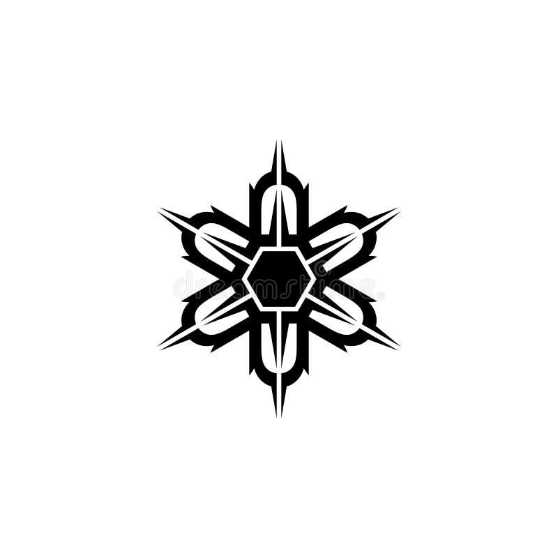 Unik symmetrisk sexhörnig formlogo vektor illustrationer