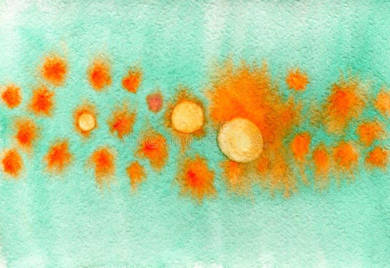 Unik vattenfärgtextur med cirklar Abstrakt bakgrund för vattenfärg i apelsin- och turkosfärger Stilfull bakgrund för placa stock illustrationer