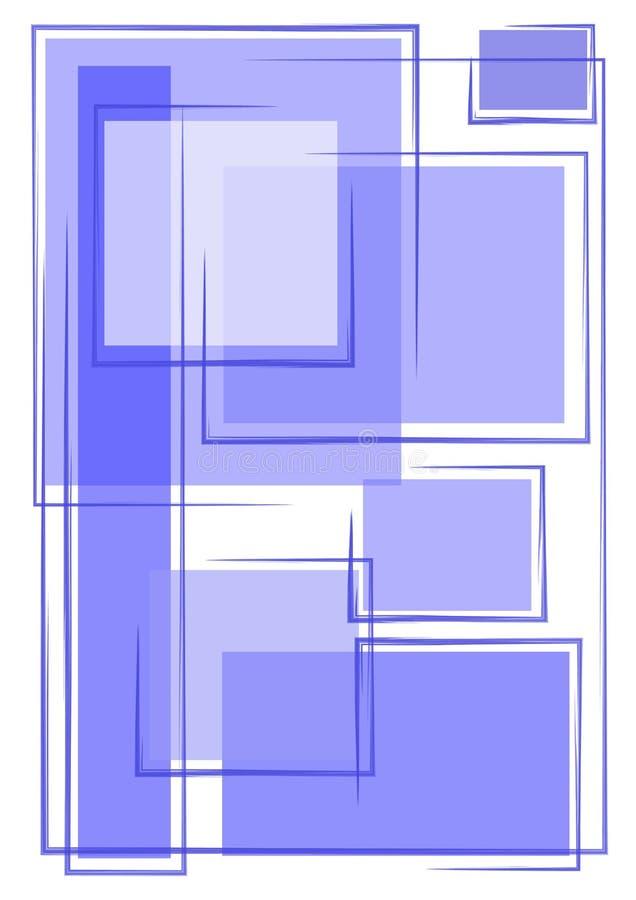 unika blåa fyrkanter för bakgrund royaltyfri illustrationer