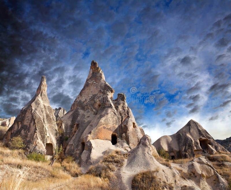 Unika geologiska bildande i Cappadocia, Turkiet royaltyfria bilder