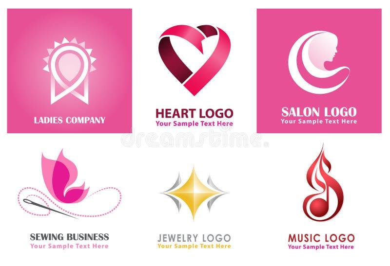 Unika logosamlingar för kvinna-, dam-, sömnad-, smycken- och hjärtalogo stock illustrationer