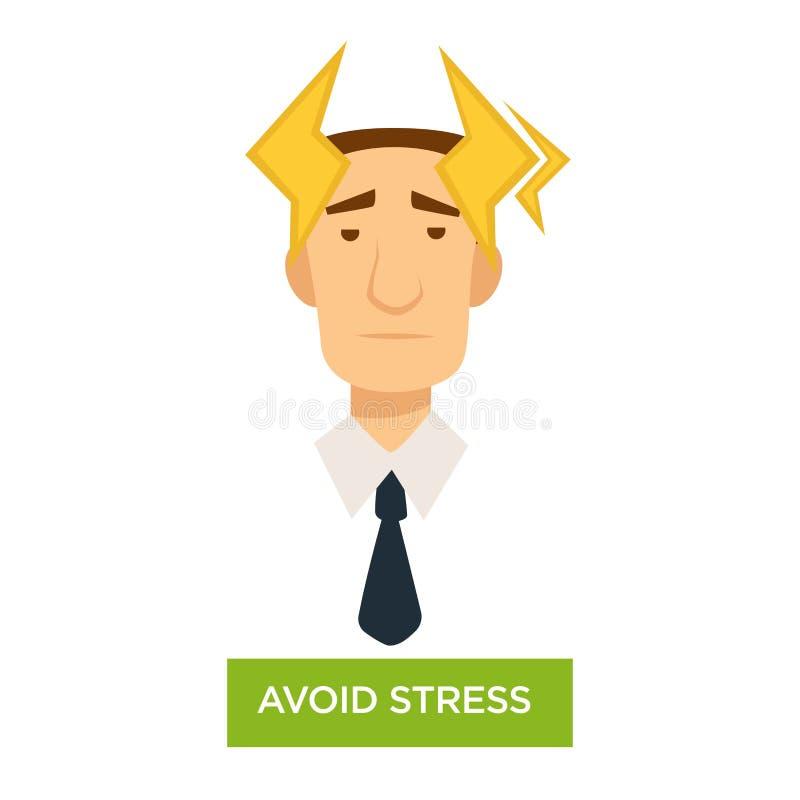 Unika stresu urzędnika z silną migreną ilustracji