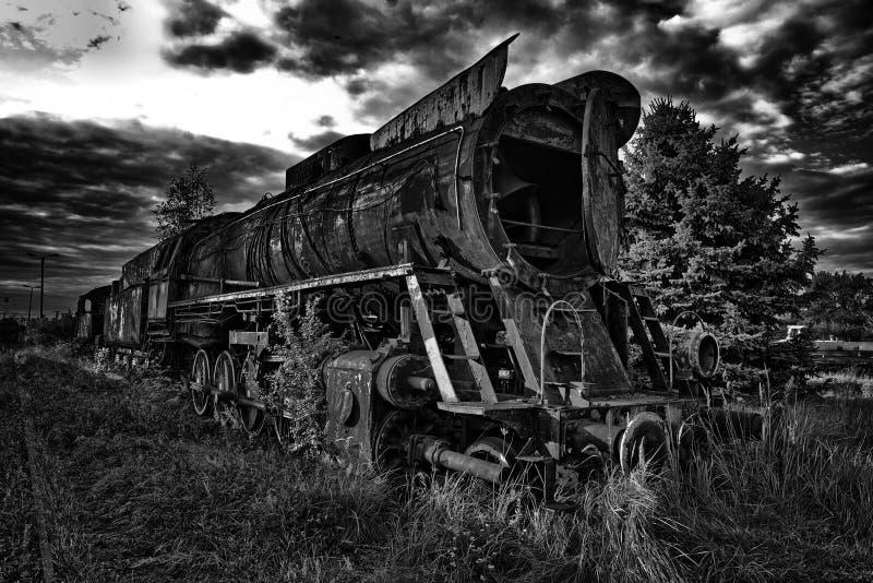 Unikalna ośniedziała parowa lokomotywa fotografia stock