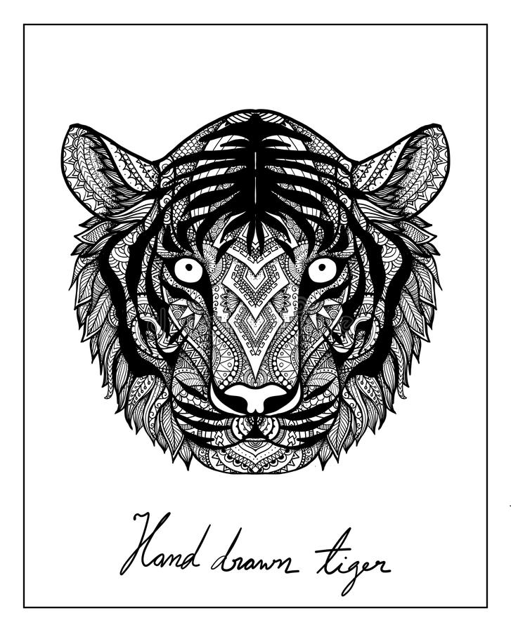 Unikalna ręka rysujący tygrys dla koszulka projekta, kubka projekta, filiżanka projekt, torebka projekt, poduszka projekt i w ten ilustracji