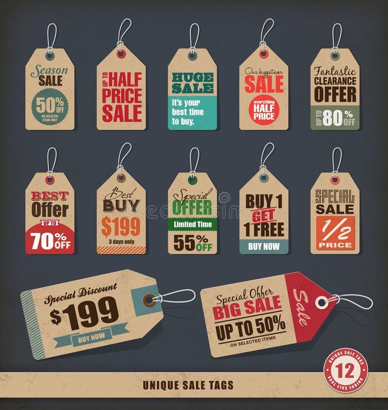 Unikalne sprzedaży etykietki royalty ilustracja