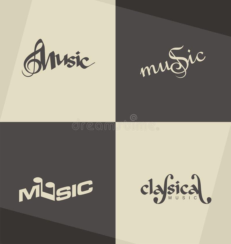 Unikalni i minimalistic muzyka klasyczna loga projekta pojęcia ilustracja wektor