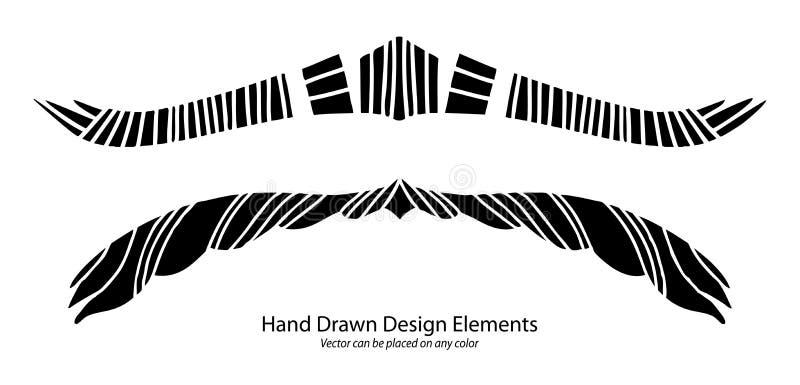 Unikalny abstrakcjonistyczny projekta elementu wektoru, akapita lub teksta divider z pasiastym symetrycznym wzorem, stylizowani a ilustracji