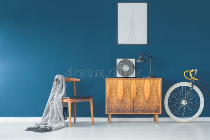 Unikalny błękitny retro wnętrze obrazy royalty free