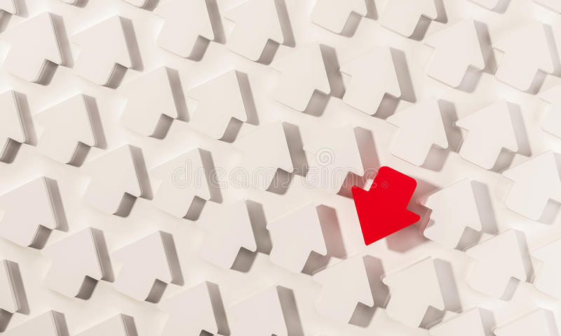 Unikalny czerwony strzałkowaty zwrot w opposite kierunku z białymi strzała, abstrakcjonistyczny pojęcie, 3d odpłacający się ilustracja wektor