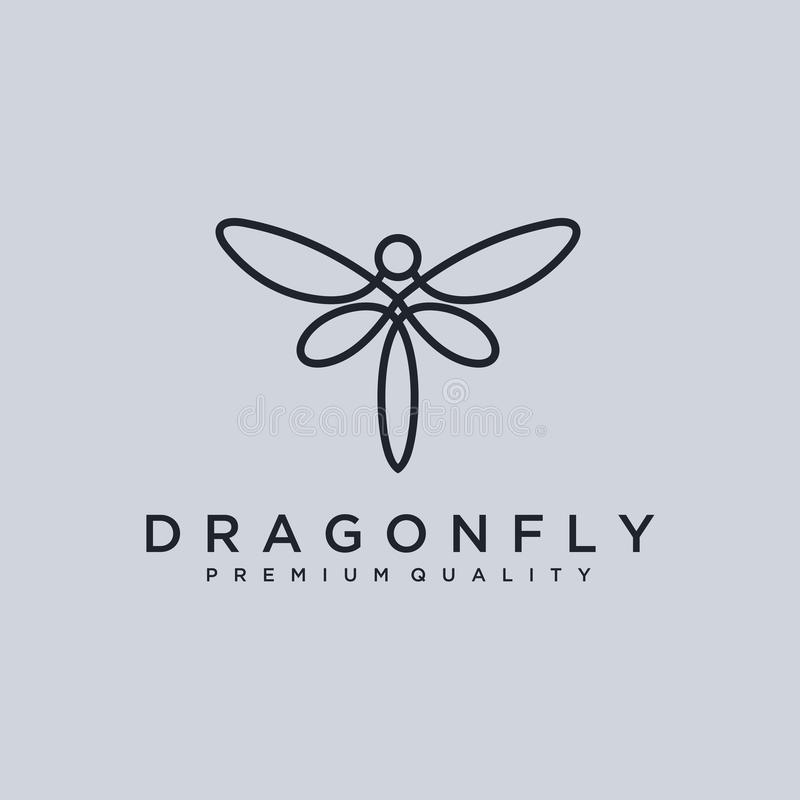 Unikalny dragonfly logo szablon prosty kształt i kolor wektor _ Minimalistyczny elegancki Dragonfly logo projekt z kreskową sztuk ilustracji