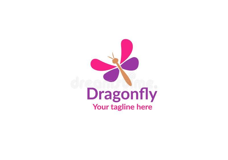 Unikalny dragonfly logo szablon prosty kszta?t i kolor wektor _ royalty ilustracja