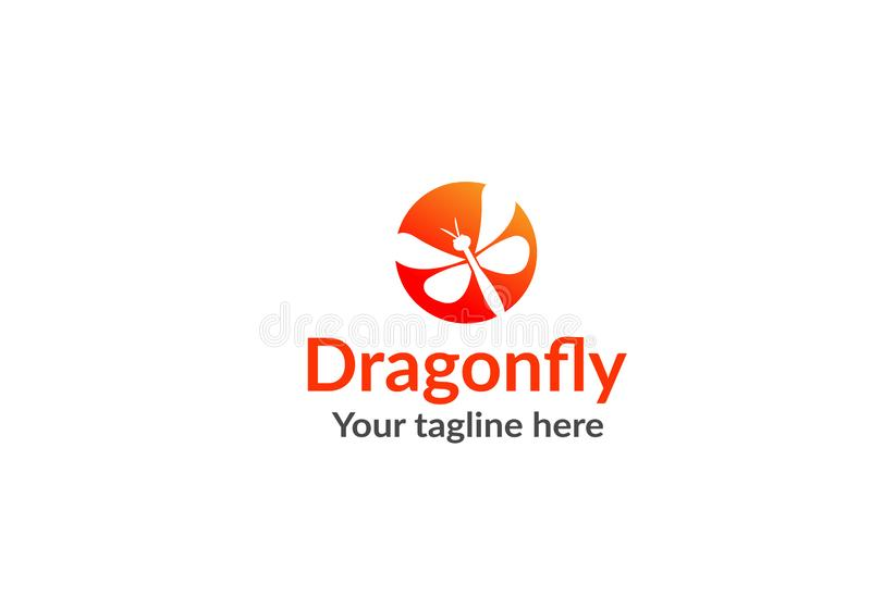 Unikalny dragonfly logo szablon prosty kszta?t i kolor wektor _ ilustracji