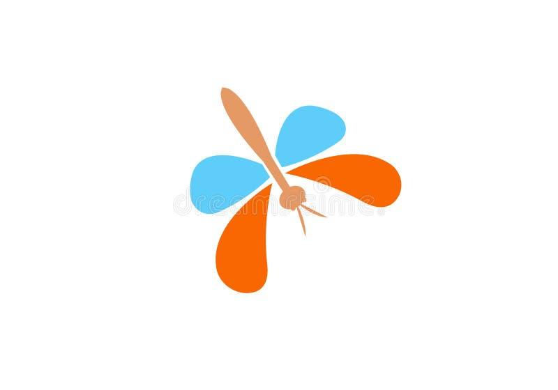 Unikalny dragonfly logo szablon prosty kszta?t i kolor wektor _ Dragonfly logo projekt z prostym kształta i koloru illustra ilustracji