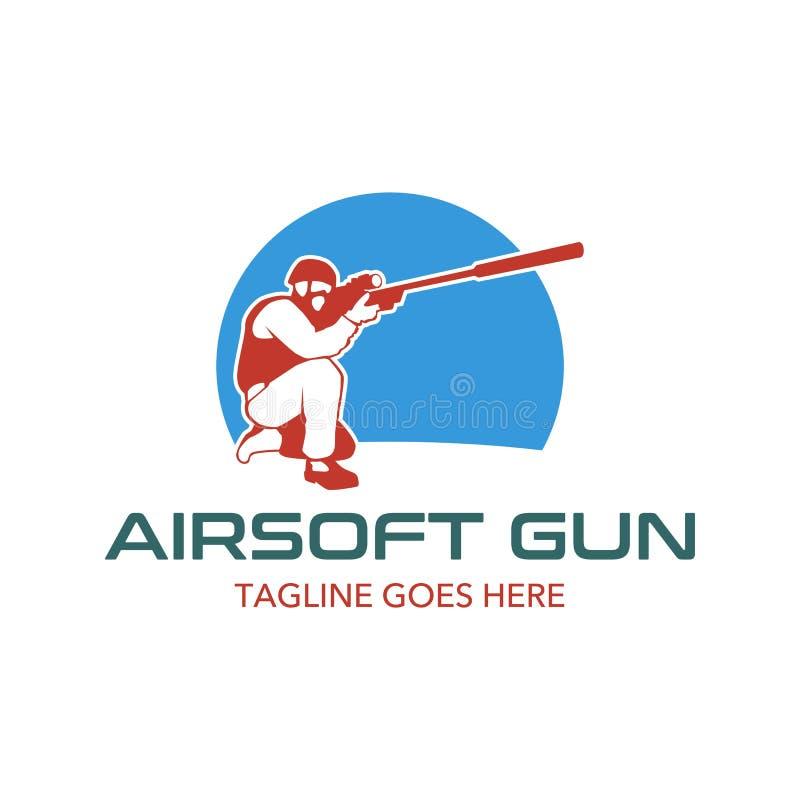 Unikalny i oryginalny airsoft pistoletu loga szablon ilustracji