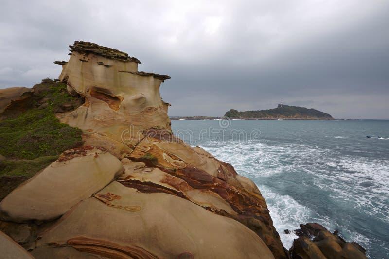 Unikalny krajobraz Tajwański północny wybrzeże i landform obraz stock