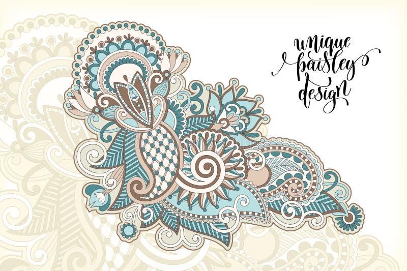 Unikalny kwiatu Paisley projekt, ręka rysuje kwiecistego wzór ilustracja wektor