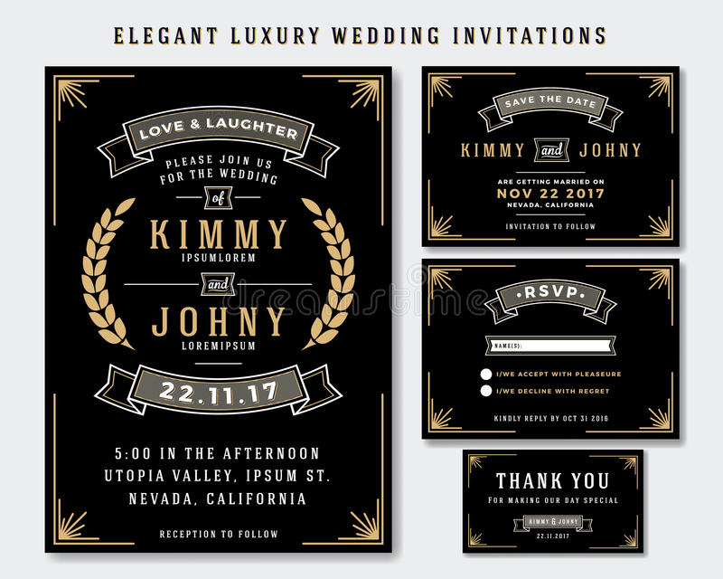 Unikalny Luksusowy Ślubny zaproszenie szablon ilustracja wektor
