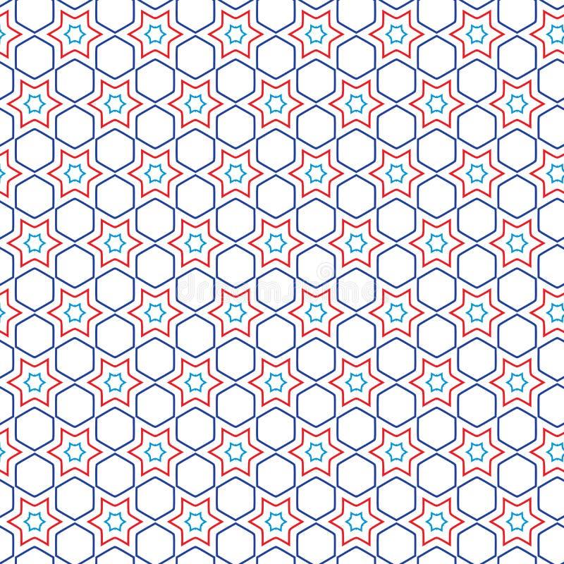 Unikalny Luksusowy Abstrakcjonistyczny Kolorowy Gwiazdowy Geometryczny Deseniowy tekstury tło Heksagonalny ilustracji