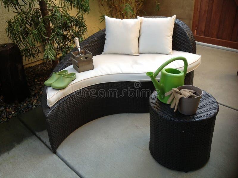 Unikalny patio meble obraz stock