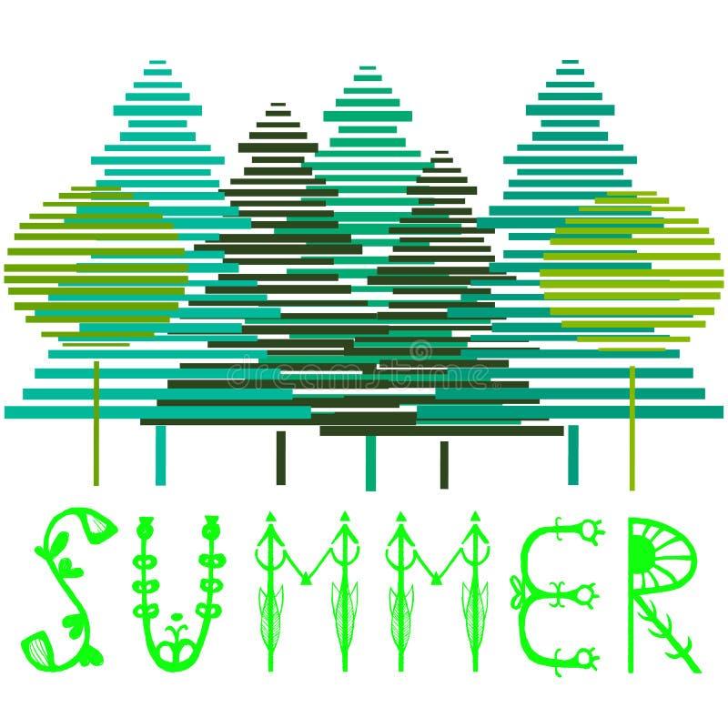 Unikalny ręki literowania projekt dla agenci podróży, lata przyjęcia, pocztówki lub lato sprzedaży, Handdrawn literowanie z lato  ilustracja wektor