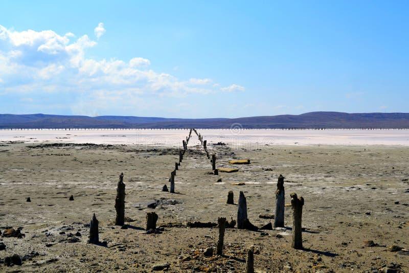 Unikalny słone jezioro Chokrak fotografia royalty free