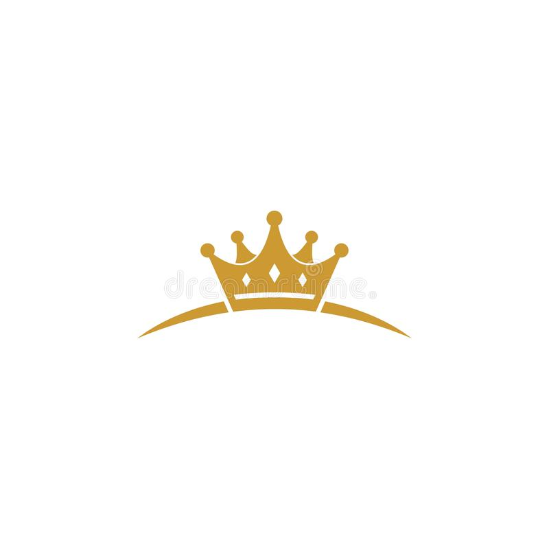 Unikalny złocisty korona logo royalty ilustracja