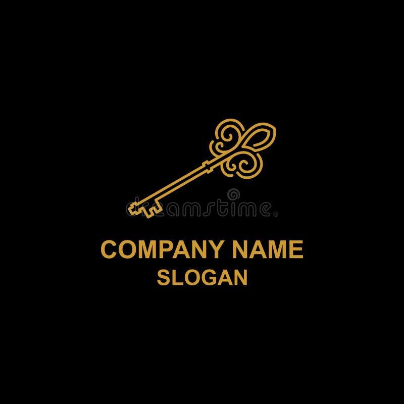 Unikalny złoto klucza logo ilustracji