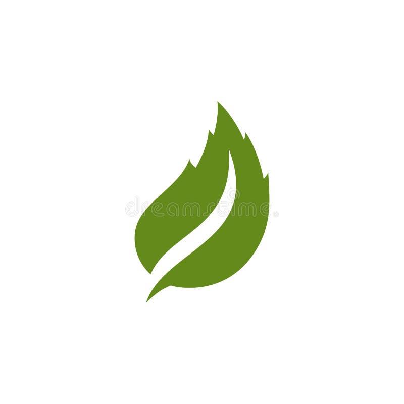 Unikalny zielony liścia logo ilustracji