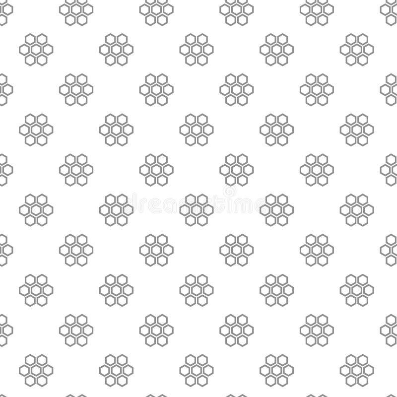 Unikalnych cyfrowych honeycombs bezszwowy wzór z różnorodnymi ikonami i symbolami na białej tła mieszkania ilustraci royalty ilustracja