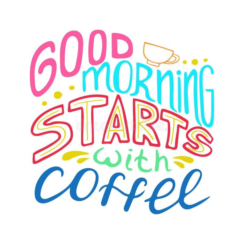 Unikt hand-dragit bokstävercitationstecken - den bra morgonen startar med kaffe vektor illustrationer