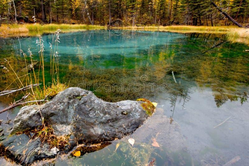 Unikt, i natur och att förbluffa skönhetGeyser sjön arkivfoton